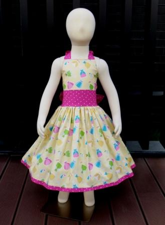 Yellow and hot pink Happy Ever After halter dress Dress-halter dress,twirly,red,white,summer dress,disney dress, ruffle dress,retro,skirt,ooak,ooc,pageant dress,handmade,custom orders,blue,polka dots dress,bow dress,ruffle dress