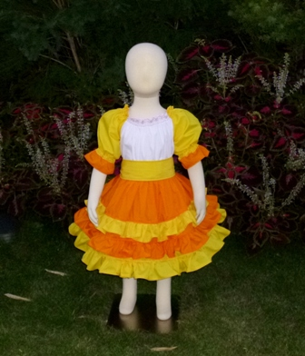 Candy Corn inspired Peasant Dress-halter dress,twirly,red,white,summer dress,disney dress, ruffle dress,retro,skirt,ooak,ooc,pageant dress,handmade,custom orders,blue,polka dots dress,bow dress,ruffle dress
