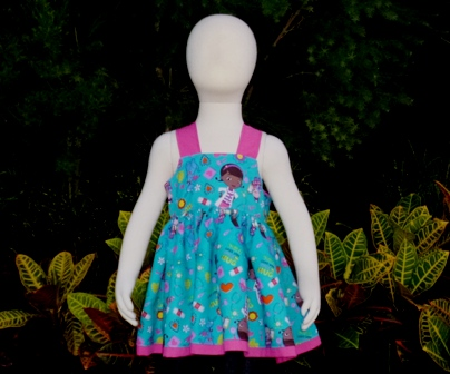 Doc Mcstuffins Pink Knot Top-Disney girl top, back to school girl top, blue and hot pink girl blouse, toddler top, girl blouse