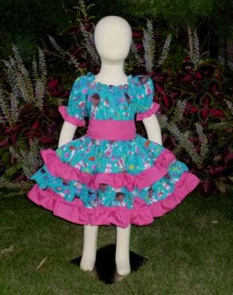 Doc Mcstuffins  triple Ruffle Peasant Dress-halter dress,twirly,red,white,summer dress,disney dress, ruffle dress,retro,skirt,ooak,ooc,pageant dress,handmade,custom orders,blue,polka dots dress,bow dress,ruffle dress