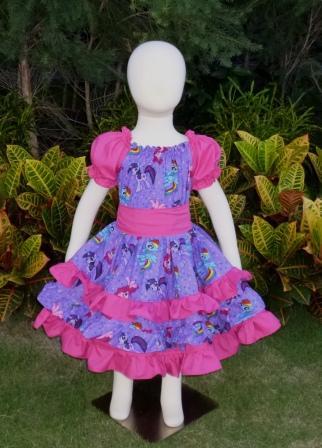 My Little Pony Hot Pink And Purple triple Ruffle Peasant Dress-cartoon dress, church dress, girls dresses, my little pony dress,princess Celestia dress, twirly skirt dress,Bella Luna Celestia my little Pony, back to school girl dress,