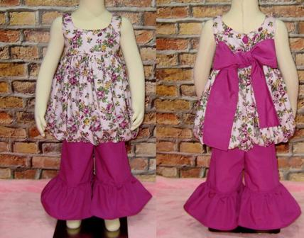 Floral Bubble Style Top And a Magenta Ruffle Pant