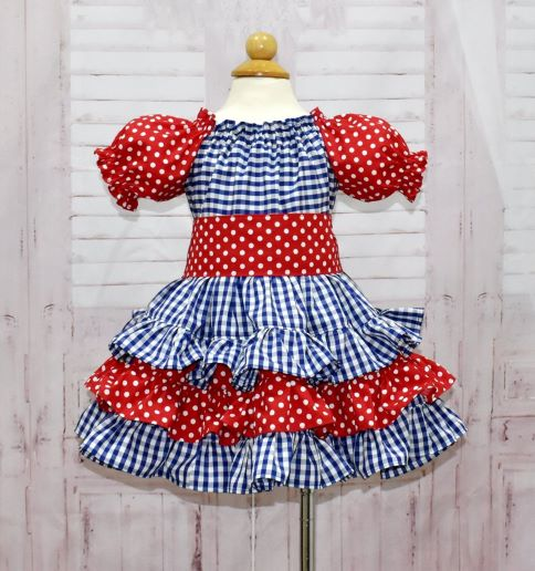 Blue and Red Ruffle Dress