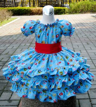 Yo Gabba Gabba Triple Ruffle Peasant Dress-handmade,dress,peasant tops,ruffles pant,pageant dress,supplies,commercial,sewing,fabric,pattern,children custom,dress,pants,applique,vintage,tutorial knitting,neddles,owls,apanese,kawaii,fabric,cotton fabric,cotton,ribbon,bows,hair clips,hair accessories,toddles,baby shower,girl,summer,tunic,wallet,purse,buttons,thread,international shipping,free shipping,flat rate